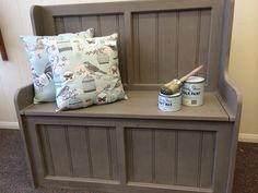 Monks Bench painted in French Linen Shoe Storage Unit, Paint Storage, Linen Storage, Bench With Storage, Bed Storage, Chalk Paint Projects, Diy Furniture Projects, Home Projects, Monks Bench