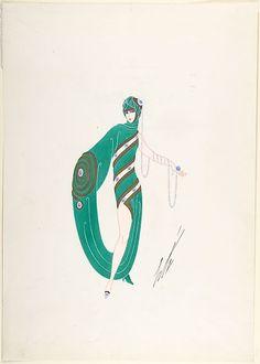 Les Décolletés de Demain -- Le Décolleté en Spirale,1925 Erté (Romain de Tirtoff) French, born Russia Art Nouveau, Erte Art, Art Deco Artists, Art Deco Movement, Art Vintage, Popular Art, Funny Art, Illustrations Posters, Fashion Illustrations