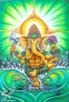 MAHALO GANESHA painting by Drew Brophy - a Hawaiian twist on the ancient Indian Diety Ganesh, surfing mouse and all. Tenacious D, Lord Ganesha Paintings, Psy Art, Surfboard Art, Surf Art, Dope Art, Ocean Art, Canvas Artwork, Indian Art