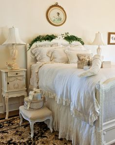Don't forget to decorate the backboards of the bed.  Fragrant boughs will make every room smell like Christmas.