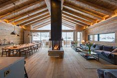 Open plan living and dining area on top floor at Chalet Mckinley in Zermatt Swiss Ski, Swiss Chalet, Swiss Alps, Chalet Interior, Luxury Interior, Chalet Style, Zermatt, Cabin Homes, Sweet Home