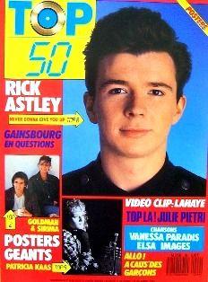 MINI 99 magazine top 50 annees 80. cette photo de rick astley en couv du top 50 a été ma couverture de cahier de texte de 4eme!!!!