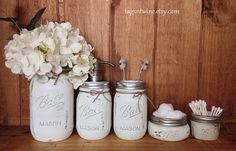IVORY Five (5) Piece Mason Jar Bathroom Accessories Set - Soap Pump - Toothbrush - Rustic - Bath - Shabby Chic - Country - Gift