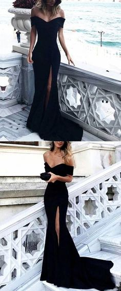 sexy long black jersey mermaid evening gowns v neck off the shoulder prom dresses 2018 with leg split