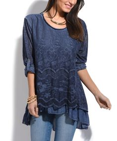 Navy Lace-Front Hi-Low Tunic