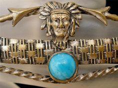 Art Deco Turquoise Brooch Indian Chief Arrow Brass C Clasp Antique Handmade | eBay