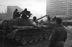 Polish T-55s from the 8th mechanized division exiting the port at Gdansk, December 1981