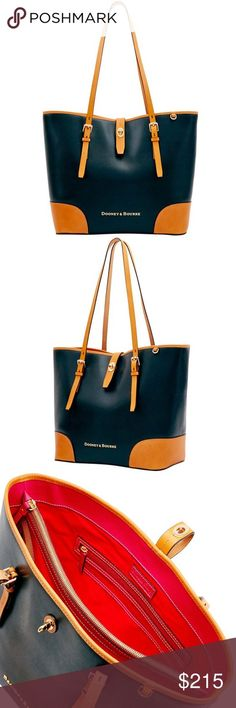 """Dooney & Bourke Claremont Dover Tote Bag Color: Black, Butterscotch Style #: LF055BL Clean lines and beautiful leather define the Claremont Collection. Made of specially tanned European hides, the leather has rich color, subtle texture and a durable coated finish. Measurements and details : H 11.5"""" x W 6.75"""" x L 12.5"""" One inside zip pocket. Two inside pockets. Cell phone pocket. Inside center zip compartment. Inside key hook. Adjustable strap. Strap drop length 11.75"""". Lined. Feet. Turn lock…"""