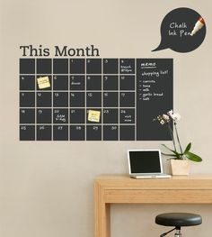 Simple Shapes - Chalkboard Calendar with Memo Wall Decal - Stay organized with the help of this chalkboard wall calendar. This calendar wall. Chalkboard Wall Calendars, Chalkboard Paint, Calendar Wall, Blackboard Wall, Chalk Paint, Office Calendar, Black Chalkboard, Family Calendar, Big Calendar