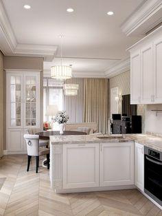 46 Trendy Kitchen Design Ideas L Shape Apartment Interior, Home Interior, Kitchen Interior, Kitchen Dinning, Home Decor Kitchen, Bathroom Interior Design, Interior Design Living Room, New Kitchen Designs, Small Room Design