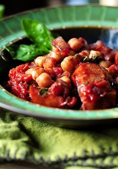 A quick and easy recipe for Italian Sausage Garbanzo Beans from @Amy Johnson / She Wears Many Hats
