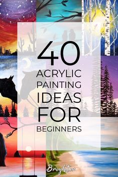 40 Acrylic Painting Tutorials & Ideas For Beginners - Brighter Craft 40 acrylic painting ideas. Learn how you can create an acrylic painting step by step. This guide is perfect for all art enthusiasts, especially beginners. Canvas Painting Tutorials, Simple Acrylic Paintings, Acrylic Painting Techniques, Painting Videos, Diy Painting, Basic Painting, Acrylic Painting Inspiration, Acylic Painting Ideas, Easy Nature Paintings