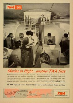 Movies in flight ... another TWA first. Trans World Airlines  via www.facebook.com/flytwa