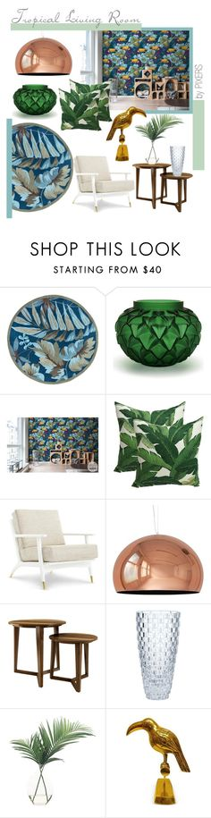 """""""Tropics on Wall"""" by pixers ❤ liked on Polyvore featuring interior, interiors, interior design, home, home decor, interior decorating, Lalique, Kartell, NDI and living room"""