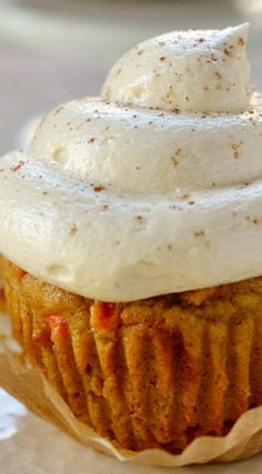 Pumpkin Carrot Cake Cupcakes with Maple Syrup Cream Cheese Frosting