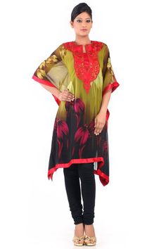 Walk with grace by slipping into this designer printed kurti. Floral prints with variety of colors are added with great finish. To beautify this piece, red hued embroidery with thread is done. This can be paired with matching bottoms to attain a lovely look.