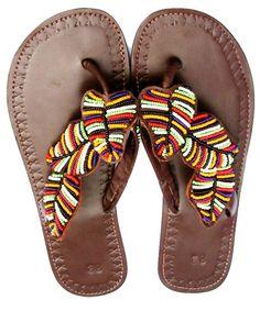Beautifully Handmade Maasai Leather and Bead Sandals