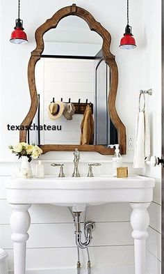 LARGE FRENCH COUNTRY FARMHOUSE ARCHED WOOD MIRROR ENTRY FOYER BATHROOM VANITY #Doesnotapply #French