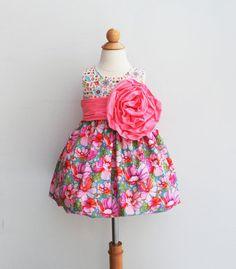 Formal Girl Dress  Large Handmade Flower  by KKchildrendesigns, $110.00