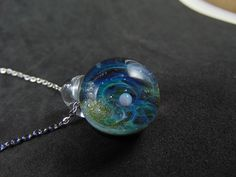 Tiny galaxy glass pendant necklace Silver fumed Borosilicate space necklace with a floating opal planet galaxy pendant with golden sparks - Tiny galaxy glass pendant necklace Silver fumed Borosilicate space necklace with a floating opal - Handmade Beads, Silver Pendant Necklace, Black Glass, Glass Pendants, Planets, Opal, Chain, Diy Ideas, Ms