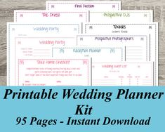 INSTANT DOWNLOAD Ultimate Printable Wedding Planner Kit - 95 pages