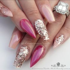 Nudie Gold, Pinky Plum ✨.. ✨✨✨... Classy #pink #nude #gold #glitter #plum #chrome #pretty #bling #stunning #gorgeous #glamorous #love #favorite #quality #acrylicnails #luminous #luminousnails #luminousnailsandbeauty #goldcoast #queensland #australia #nailartist #nailart #sculpturednails