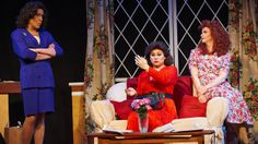 """(From left) Jamie Morris (as Julia Sugarbaker), Ashton McKay Shawver (as Suzanne Sugarbaker) and Chad Peterson (as Mary Jo Shively) serve up lots of laughs in Diversionary Theatre's """"Re-Designing Women."""" PHOTO BY MIKE MORGAN"""
