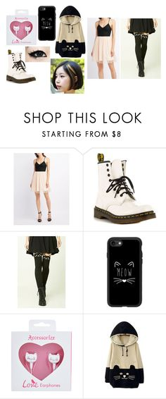 """""""Kawaguchi Party"""" by solstice-dean-winters on Polyvore featuring Charlotte Russe, Dr. Martens, Forever 21, Casetify, Accessorize and WithChic"""