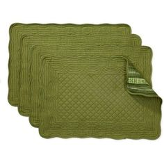 Better Homes and Gardens Reversible Quilted Placemats, Set of 4, Green