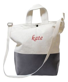 Take a look at this Gray Dip Personalized Canvas Tote on zulily today!
