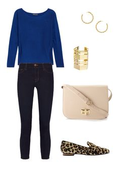 #ootd business casual outfit - skinny jeans, leopard flats, royal boatneck blouse, Steve Madden purse, gold accents
