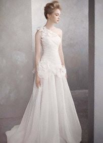 One-shoulder basket-weave organza gown.  So gorgeous!!!