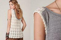 Crochetemoda inspiration - just 1/2 a tank pattern and use as backing to jersey tank fabric w blanket stitch