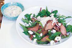Moroccan lamb & feta salad (yogurt dressing)