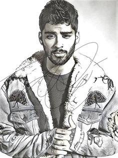 Zayn Malik Drawing Sketch PRINT Wall Art Illustration