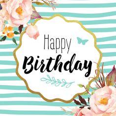 Trendy verjaardagskaart met getekende bloemen. Deze kaart heeft een binnenkant.