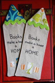 cute bookmarks--would love to make for gifts.  Also--a giveaway to win a couple of handmade bookmarks right now.