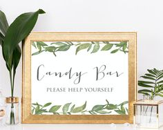 Candy Bar Sign greenery leafy printable bridal by PerfectlyMatched
