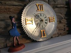 A personal favorite from my Etsy shop https://www.etsy.com/listing/264412525/steam-punk-handmade-saw-mill-blade-clock