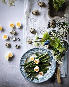 Asparagus with Quail Eggs #Asparagus Theme Week. Credi