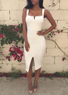 Fashion New Solid Front Slit Mid Calf Dress(3 colors)