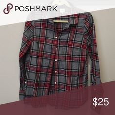 The perfect shirt, by J crew Fall is coming! And this button up is perfect for it. Black, grey, and red plaid, long-sleeve. J. Crew Tops Button Down Shirts