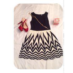 Xhilaration Dress Cute dress in Navy and ivory. Great condition! Xhilaration Dresses Midi
