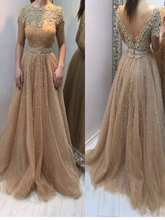 Long Custom prom dress, Champagne prom dress, Prom Dress With Appliques, Open Back prom dress, A-line prom dress, Classy prom dress, Evening party Gown. PD0121033
