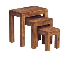 Sheesham Zen Natural Nest of 3 Table Set