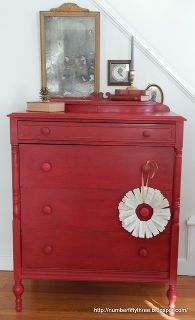 the perfect red vintage dresser, painted furniture