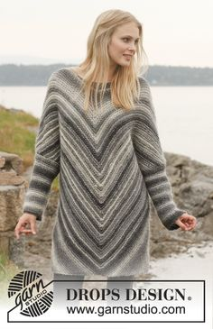 Knitted DROPS jumper in garter st in Big Delight. Worked diagonally. Size: S - XXXL.
