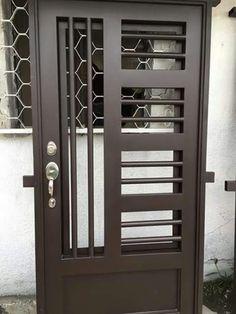 Puerta  Puee Door Gate Design, Main Gate Design, Wrought Iron Gates, Metal Gates, Grill Gate, Door Grill, Steel Gate, Steel Doors, Main Door