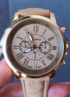 Kup mój przedmiot na #vintedpl http://www.vinted.pl/akcesoria/bizuteria/12074734-nowy-zegarek-z-masywna-tarcza-zloty-ciemna-kawa-z-mlekiem-geneva