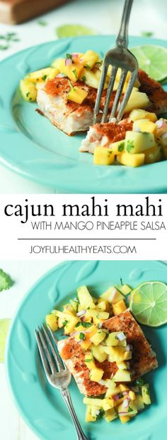 Pan Seared Cajun Mahi Mahi with a fresh Mango Pineapple Salsa, an easy gluten free recipe that takes 15 minutes to make! A taste of the Caribbean! | joyfulhealthyeats.com #recipes